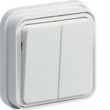 Εικόνα της Cubyko A/R Διπλός Χωνευτός IP55 Λευκός Hager
