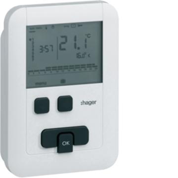Εικόνα της Θερμοστάτης Ψηφιακός Προγραμματιζόμενος Eco Μπαταρίας Hager