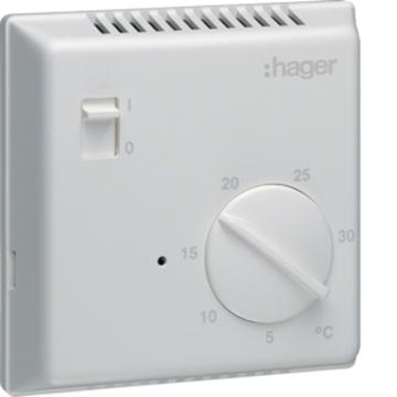 Εικόνα της Θερμοστάτης Ηλεκτρονικός Με Διακόπτη   Ενδεικτική Λυχνία Hager