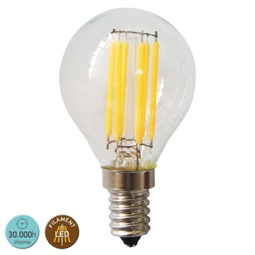 Εικόνα της ΛΑΜΠΑ E14 G45 6WATT FILAMENT 2700K CLEAR IP20 2700W.W