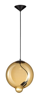 Εικόνα της Amber Glass  Black Metal Black Fabric Wire E27 1x25W IP20 Bulb Excluded D H1 H2 cm