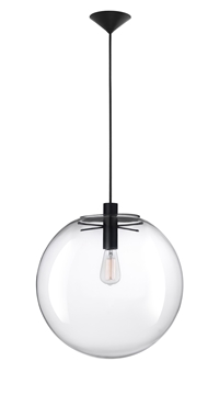 Εικόνα της Clear Glass  Black Metal Black Fabric Wire E27 1x60W IP20 Bulb Excluded D H1 H2 cm