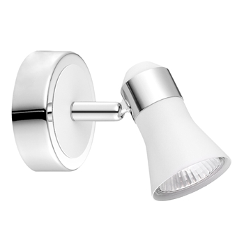 Εικόνα της Matt White Chrome Aluminium GU10 1x50 Watt IP20 Bulb Excluded D 8 W 11.5 H 11 cm