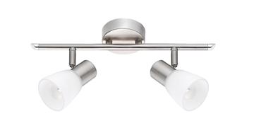 Εικόνα της Opal Glass  Satin Nickel Metal E14 2x40W IP20 Bulb Excluded L 34.2 W 7.8 H 16.2 cm