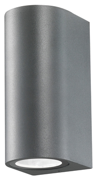 Εικόνα της Dark Gray Aluminium  Glass Diffuser GU10 2x35 Watt D 7 W 8 H 15 cm IP54