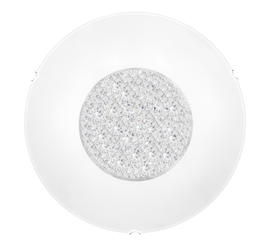 Εικόνα της Ceiling Light White Glass  Crystal Chrome Metal E27 2x40W  D H