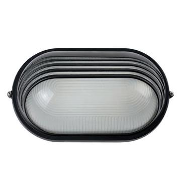 Εικόνα της Φωτιστικό Χελώνα Ε27 60W Πλαστική Μαύρη Οβάλ+Γυαλί+Πλέγμα IP54
