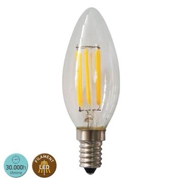 Εικόνα της ΛΑΜΠΑ FILAMENT LED E14 C35 6WATT 2700K 360° CLEAR