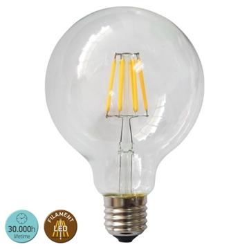 Εικόνα της ΛΑΜΠΑ LED E27 G95 8WATT FILAMENT 2700K CLEAR IP20