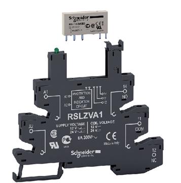 Εικόνα της Zelio RSL ρελέ τύπου Slim 12V με προστασία και LED (βάση + ρελέ)