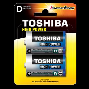 Εικόνα της Μπαταρία D High Power Toshiba LR20 Alkaline BP2 Χοντρή