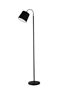 Εικόνα της Black  Chrome Metal Black Fabric Shade E27 1x60 W Bulb Excluded D 22 H 140 cm
