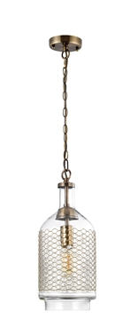 Εικόνα της Brass Metal Clear Handmade Glass Brass Metal Chain E27 1x40W IP20 Bulb Excluded D 18 H 260cm