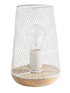 Εικόνα της White Metal Natural Wood E27 1x40 Watt 230 Volt IP20 Bulb Exclud