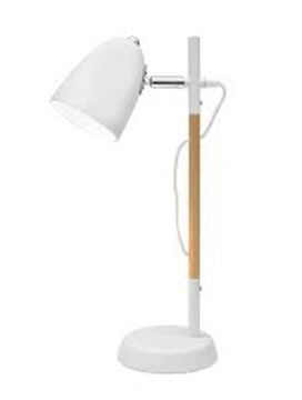Εικόνα της White Metal  Natural Wood E27 1x40 Watt 230 Volt IP20 Bulb Excluded D 13 H 42 cm