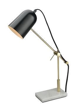 Εικόνα της Black  Brass Metal White Marble Base E14 1x60W IP20 Bulb Excluded L 15 W 9 H 42 cm