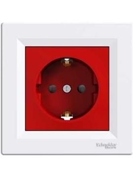 Εικόνα της Asfora πρίζα σούκο ασφαλείας (2Π+Γ) Κόκκινη