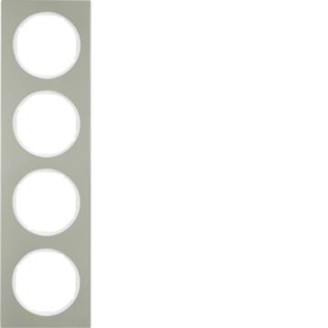 Εικόνα της Berker Πλαίσιο 4Θ. Inox Λευκό R.3 Hager