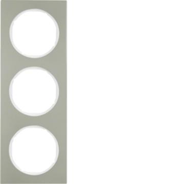 Εικόνα της Berker Πλαίσιο 3Θ. Inox Λευκό R.3 Hager