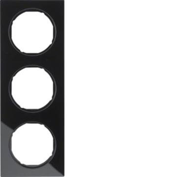 Εικόνα της Berker Πλαίσιο 3Θ. Γυαλί Μαύρο R.3 Hager