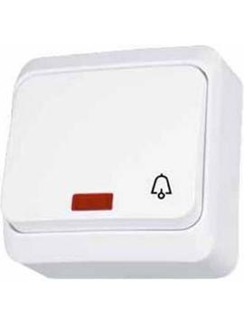 Εικόνα της Prima διακόπτης απλός με λυχνία προσανατολισμού/σύμβολο κουδουνιού  Λευκός
