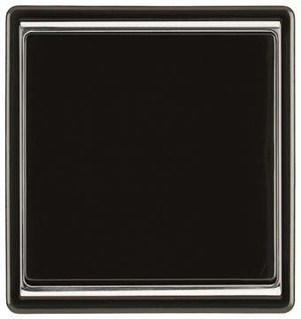Εικόνα της Πλακίδιο μαύρο  μονό δαχτυλίδι χρωμίο