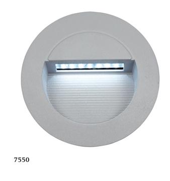 Εικόνα της Φωτιστικό Εξωτερικού Χώρου Χωνευτό Τοίχου Στρογγυλό LED 1,4W Ασημί