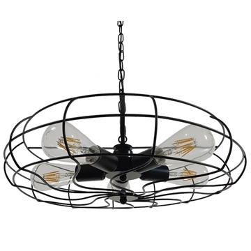 Εικόνα της Vintage Industrial Κρεμαστό Φωτιστικό Οροφής Πολύφωτο Μαύρο Μεταλλικό Πλέγμα Φ46 GloboStar HELIX 01164