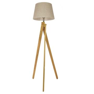 Εικόνα της Μοντέρνο Φωτιστικό Δαπέδου Μονόφωτο Ξύλινο με Μπεζ Καπέλο Φ40 GloboStar TRIPOD 01263