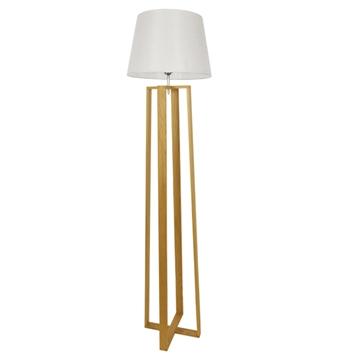 Εικόνα της Μοντέρνο Φωτιστικό Δαπέδου Μονόφωτο Ξύλινο με Λευκό Καπέλο Φ40 GloboStar TOWER 01264