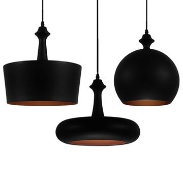 Εικόνα της SET 3 Μοντέρνα Κρεμαστά Φωτιστικά Οροφής Μονόφωτα Μαύρα Μεταλλικά Καμπάνα GloboStar ROCKFORD 01287