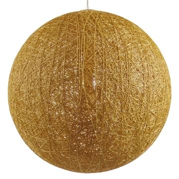 Εικόνα της  Vintage Κρεμαστό Φωτιστικό Οροφής Μονόφωτο Μπεζ Χρυσό Ξύλινο Ψάθινο Rattan Φ60 GloboStar LOFT 01361
