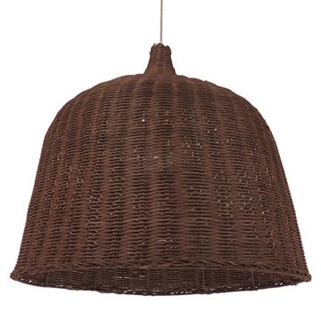 Εικόνα της  Vintage Κρεμαστό Φωτιστικό Οροφής Μονόφωτο Καφέ Ξύλινο Ψάθινο Rattan Φ60 GloboStar ARGENTO 01369