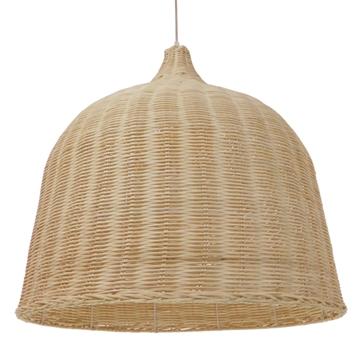 Εικόνα της  Vintage Κρεμαστό Φωτιστικό Οροφής Μονόφωτο Μπεζ Ξύλινο Ψάθινο Rattan Φ60 GloboStar ROOSEVELT 01370