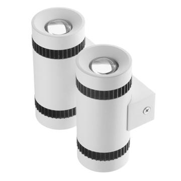 Εικόνα της LED Φωτιστικό Τοίχου Αρχιτεκτονικού Φωτισμού Διπλό Up Down Λευκό IP65 20 Watt CREE Θερμό Λευκό GloboStar 93062