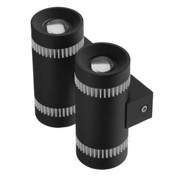 Εικόνα της LED Φωτιστικό Τοίχου Αρχιτεκτονικού Φωτισμού Διπλό Up Down Μαύρο IP65 20 Watt CREE Θερμό Λευκό GloboStar 93064