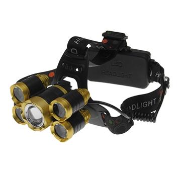 Εικόνα της Πανίσχυρος Φακός Κεφαλής LED Χρυσό Επαναφορτιζόμενος 5000 Lumen 5200Mah GloboStar 05999