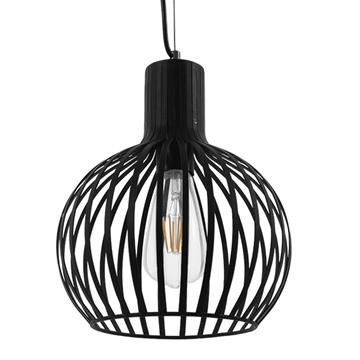 Εικόνα της Vintage Industrial Κρεμαστό Φωτιστικό Οροφής Μονόφωτο Μαύρο Μεταλλικό Πλέγμα Φ23 GloboStar SCANDI 01386