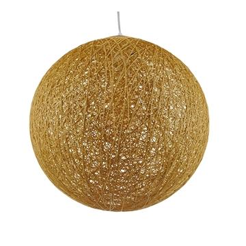 Εικόνα της  Vintage Κρεμαστό Φωτιστικό Οροφής Μονόφωτο Μπεζ Χρυσό Ξύλινο Ψάθινο Rattan Φ40 GloboStar WOTAN 01357