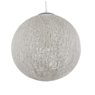 Εικόνα της  Vintage Κρεμαστό Φωτιστικό Οροφής Μονόφωτο Λευκό Ξύλινο Ψάθινο Rattan Φ40 GloboStar SISO 01359