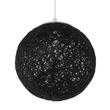 Εικόνα της  Vintage Κρεμαστό Φωτιστικό Οροφής Μονόφωτο Μαύρο Ξύλινο Ψάθινο Rattan Φ20 GloboStar ECOS 01356