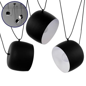 Εικόνα της SET 3 Μοντέρνα Κρεμαστά Φωτιστικά Οροφής Μονόφωτα Μαύρα Λευκά Μεταλλικά Καμπάνα Φ25 GloboStar LACRIMA 01375