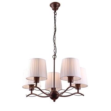 Εικόνα της Homelight Πολύφωτο με λευκό και καφέ πατίνα 5φωτο H9423-5 HANA 77-2228