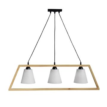 Εικόνα της Κρεμαστό Τρίφωτο Φωτιστικό Ράγα Ξύλινη Fun-01 Frame-Wood 3/Φ 31-0403 Heronia