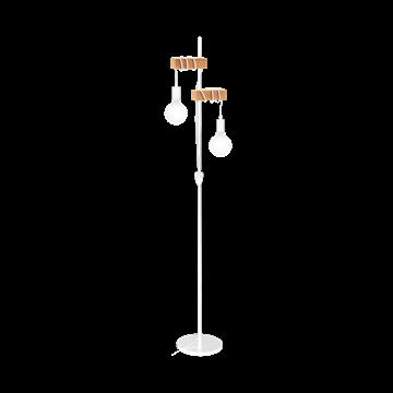 Εικόνα της Vintage Φωτιστικό Δαπέδου 2Φ Σε Ξύλινο Και Λευκό Χρώμα Eglo Townshend 33167