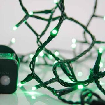 Εικόνα της Χριστουγεννιάτικα λαμπάκια πράσινα 8 προγράμματα με κοντρολερ πράσινο καλώδιο 24V 6 μέτρα