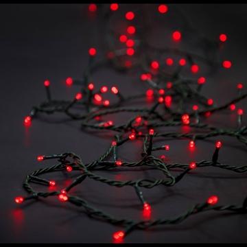 Εικόνα της Χριστουγεννιάτικα λαμπάκια κόκκινα 8 προγράμματα με κοντρολερ πράσινο καλώδιο 24V 6 μέτρα