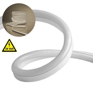 Εικόνα της NEON FLEX LED Λευκή 1m 12W/m 24V 120 SMD/m 2835 SMD 930lm/m 120° Αδιάβροχη IP66 Φυσικό Λευκό 4500k Dimmable GloboStar 22619