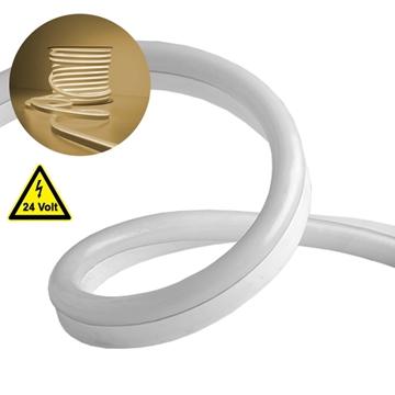 Εικόνα της NEON FLEX LED Λευκή 1m 12W/m 24V 120 SMD/m 2835 SMD 880lm/m 120° Αδιάβροχη IP66 Θερμό Λευκό 3000k Dimmable GloboStar 22620
