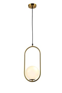 Εικόνα της Φωτιστικό Μονόφωτο Κρεμαστό Μεταλλικό Χρυσό/Λευκό Lambario L96-66
